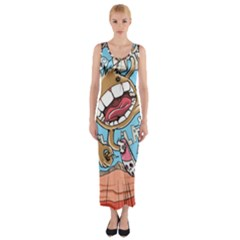Illustration Characters Comics Draw Fitted Maxi Dress