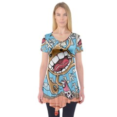 Illustration Characters Comics Draw Short Sleeve Tunic