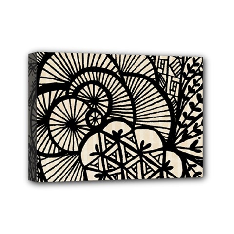 Background Abstract Beige Black Mini Canvas 7  X 5
