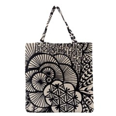 Background Abstract Beige Black Grocery Tote Bag