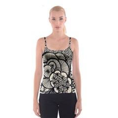 Background Abstract Beige Black Spaghetti Strap Top