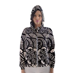 Background Abstract Beige Black Hooded Wind Breaker (women)