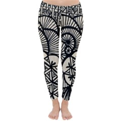 Background Abstract Beige Black Classic Winter Leggings