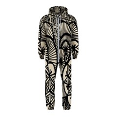 Background Abstract Beige Black Hooded Jumpsuit (kids)