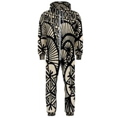 Background Abstract Beige Black Hooded Jumpsuit (men)