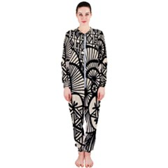Background Abstract Beige Black Onepiece Jumpsuit (ladies)