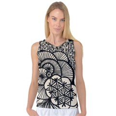 Background Abstract Beige Black Women s Basketball Tank Top