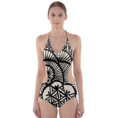 Background Abstract Beige Black Cut Out One Piece Swimsuit