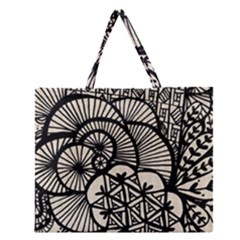 Background Abstract Beige Black Zipper Large Tote Bag