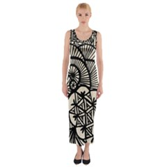 Background Abstract Beige Black Fitted Maxi Dress