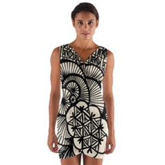Background Abstract Beige Black Wrap Front Bodycon Dress