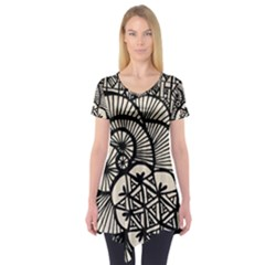 Background Abstract Beige Black Short Sleeve Tunic
