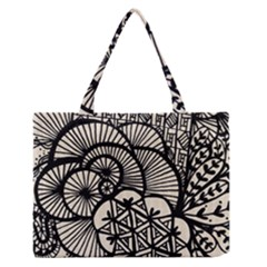 Background Abstract Beige Black Zipper Medium Tote Bag