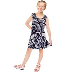 Background Abstract Beige Black Kids  Tunic Dress