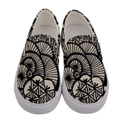 Background Abstract Beige Black Women s Canvas Slip Ons