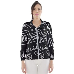 Wedding Chalkboard Icons Set Wind Breaker (women)