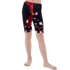 Circle Lines Wave Star Abstract Kids  Mid Length Swim Shorts