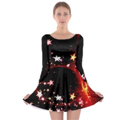 Circle Lines Wave Star Abstract Long Sleeve Skater Dress