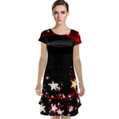 Circle Lines Wave Star Abstract Cap Sleeve Nightdress