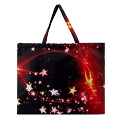 Circle Lines Wave Star Abstract Zipper Large Tote Bag