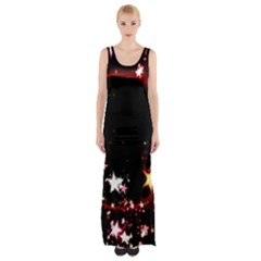 Circle Lines Wave Star Abstract Maxi Thigh Split Dress