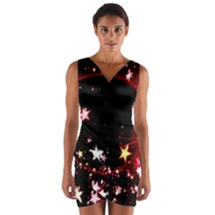 Circle Lines Wave Star Abstract Wrap Front Bodycon Dress