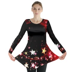 Circle Lines Wave Star Abstract Long Sleeve Tunic