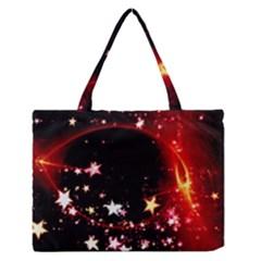 Circle Lines Wave Star Abstract Zipper Medium Tote Bag