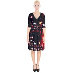 Circle Lines Wave Star Abstract Wrap Up Cocktail Dress