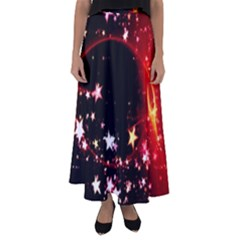 Circle Lines Wave Star Abstract Flared Maxi Skirt