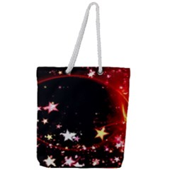 Circle Lines Wave Star Abstract Full Print Rope Handle Tote (large)