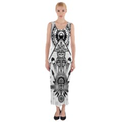 Ancient Parade Ancient Civilization Fitted Maxi Dress