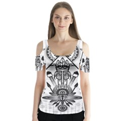 Ancient Parade Ancient Civilization Butterfly Sleeve Cutout Tee