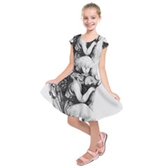 Stippling Drawing Dots Stipple Kids  Short Sleeve Dress