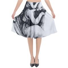 Stippling Drawing Dots Stipple Flared Midi Skirt