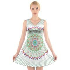 Flower Abstract Floral V Neck Sleeveless Skater Dress