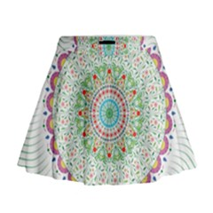 Flower Abstract Floral Mini Flare Skirt