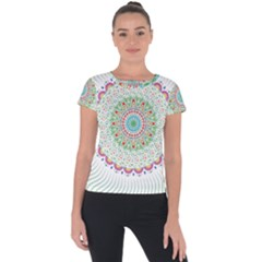 Flower Abstract Floral Short Sleeve Sports Top