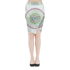 Flower Abstract Floral Midi Wrap Pencil Skirt
