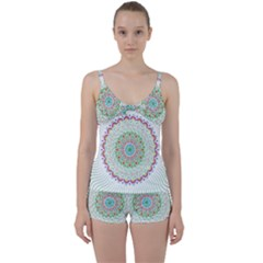 Flower Abstract Floral Tie Front Two Piece Tankini