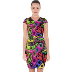 Seamless Texture Pattern Tile Capsleeve Drawstring Dress
