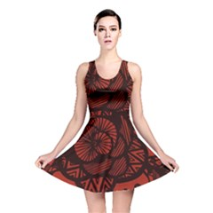Background Abstract Red Black Reversible Skater Dress