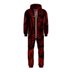 Background Abstract Red Black Hooded Jumpsuit (kids)