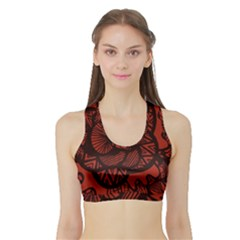 Background Abstract Red Black Sports Bra With Border