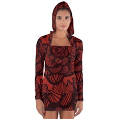 Background Abstract Red Black Long Sleeve Hooded T Shirt