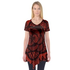 Background Abstract Red Black Short Sleeve Tunic