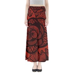 Background Abstract Red Black Full Length Maxi Skirt
