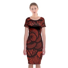 Background Abstract Red Black Classic Short Sleeve Midi Dress