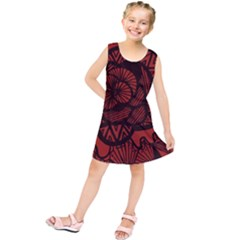 Background Abstract Red Black Kids  Tunic Dress