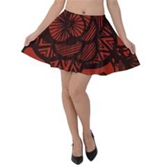 Background Abstract Red Black Velvet Skater Skirt
